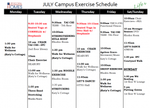 Episcopal Homes Campus Exercise schedule