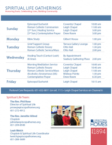 Episcopal Homes Spiritual Life Gathering Schedule