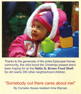 Episcopal Home residents donate more than 400 holiday gifts and $2,000 for children served at the Hallie Q. Brown center.