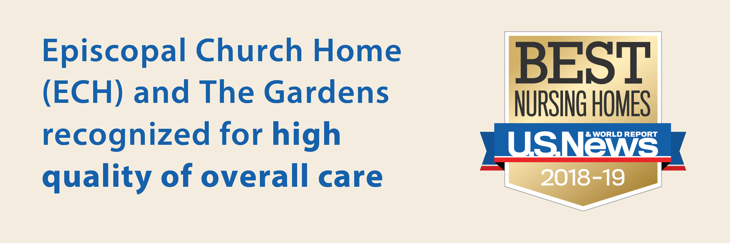 Episcopal Church Home and The Gardens recognized for high quality of overall care